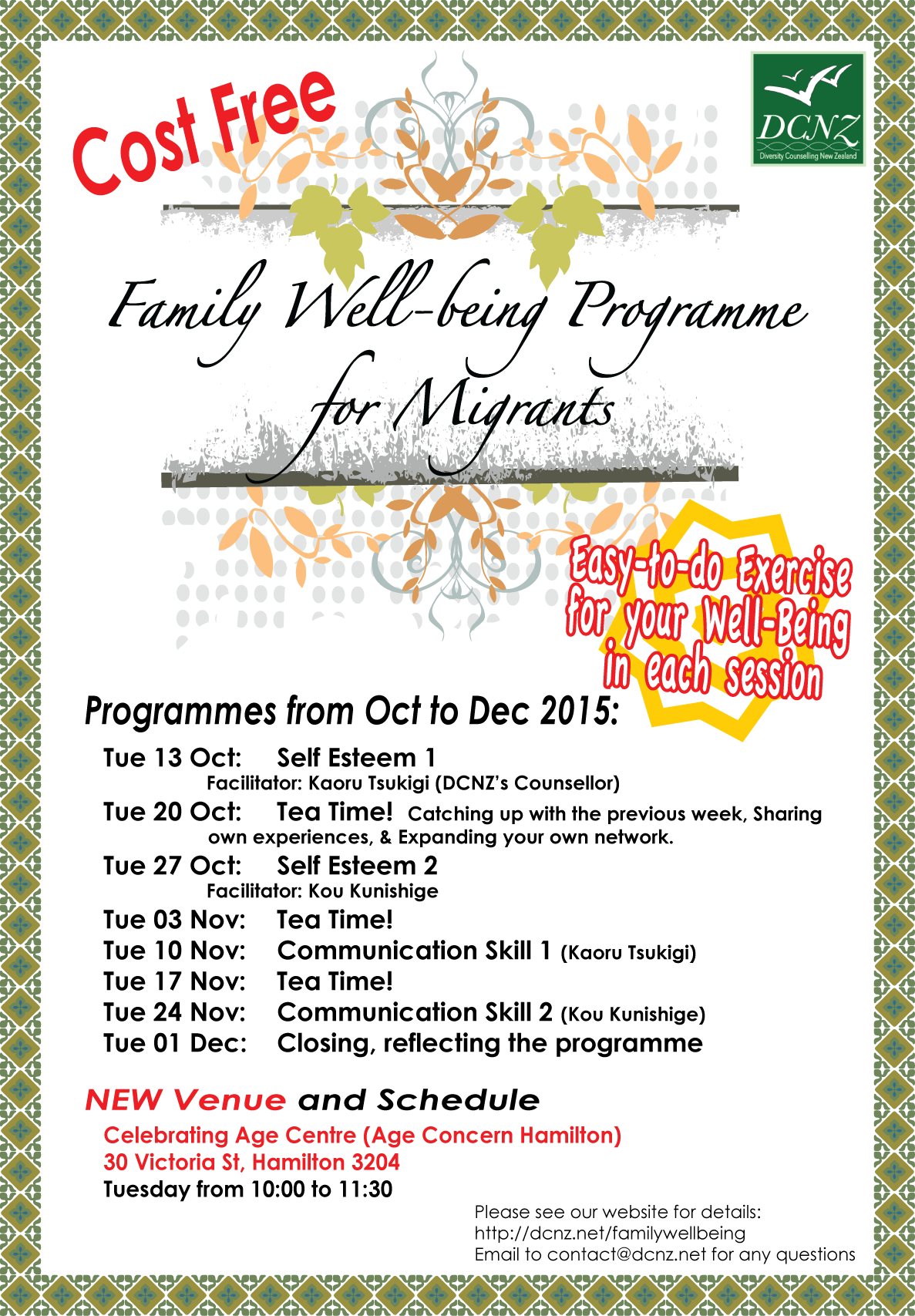 Family Well-Being Programme in October to December
