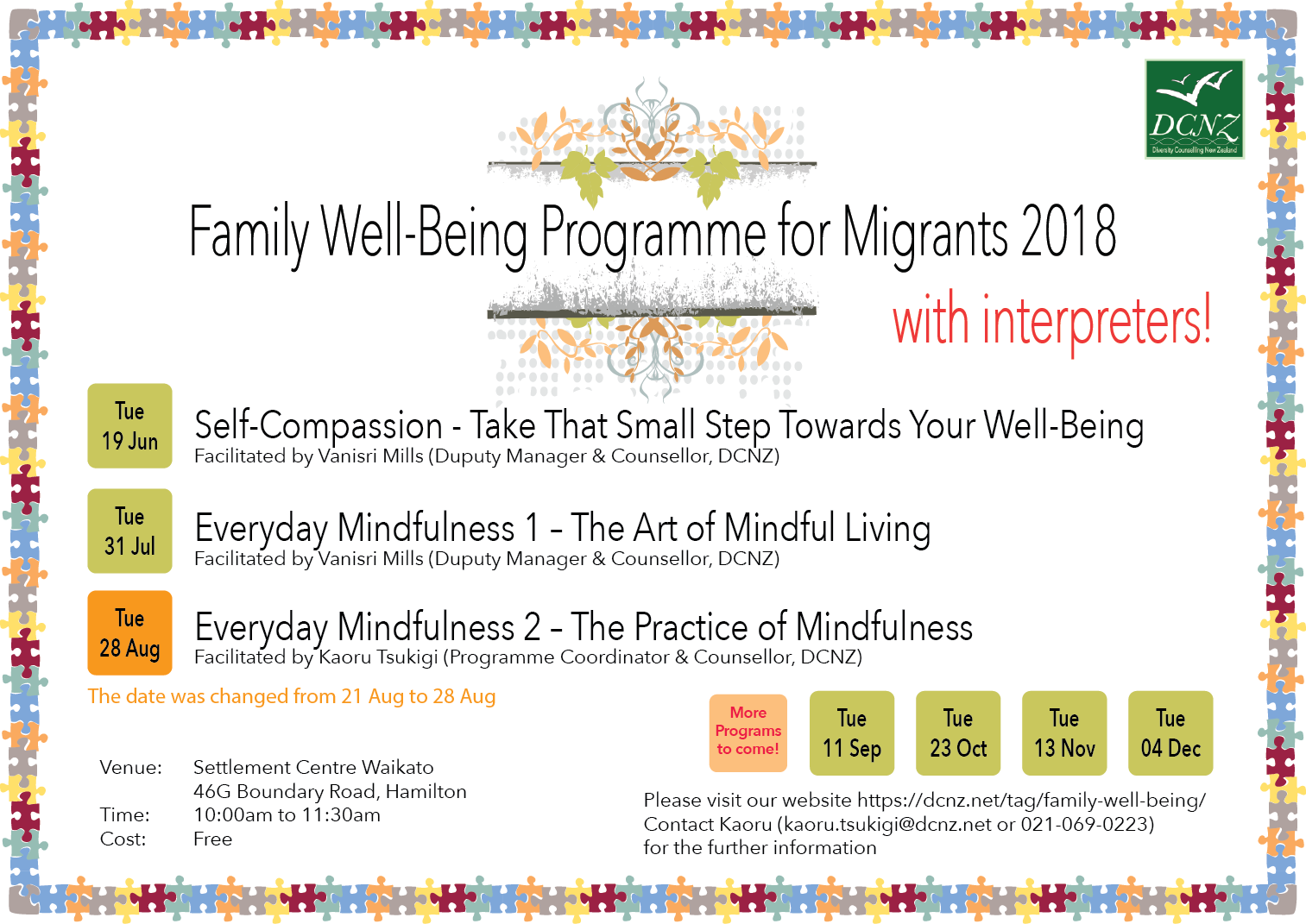 Family Well-Being Programme June to August 2018