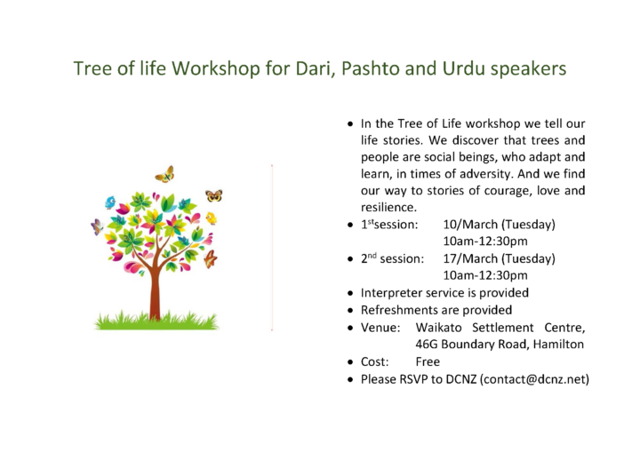 Tree of life Workshop for Dari, Pashto and Urdu speakers